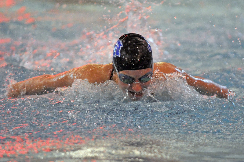 Pippin Robison swims the butterfly in the 200-meter IM during the Sheridan Invite on Saturday, Sept. 23 at Sheridan Junior High School. Mike Pruden | The Sheridan Press