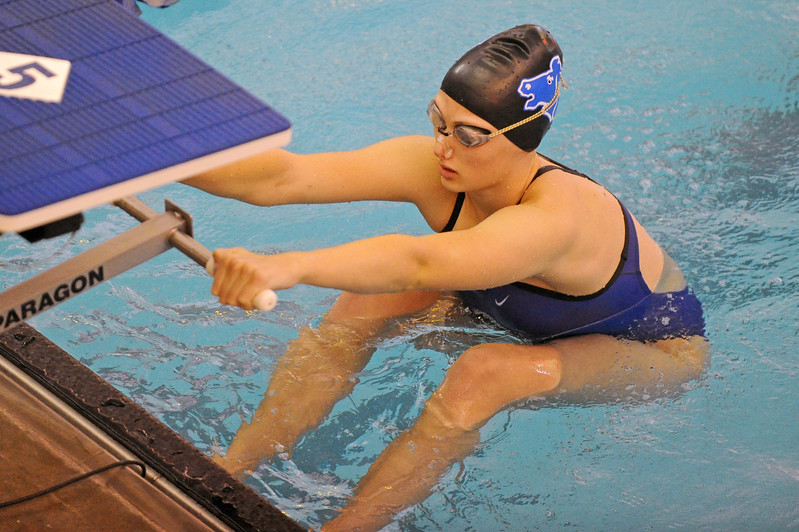 Piper Carroll prepares for the start of the 100-meter backstroke during the Sheridan Invite on Saturday, Sept. 23 at Sheridan Junior High School. Mike Pruden | The Sheridan Press