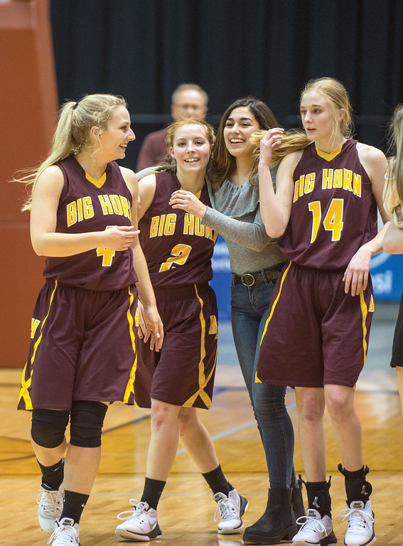 Mike Dunn | The Sheridan Press<br /> Right to left: Abby Buckingham, Emily Blaney, Sofia Trabert and Madison Blaney celebrate their win after the 2A girls state title game Saturday at the Casper Events Center. The Lady Rams won their first state title since 2009.