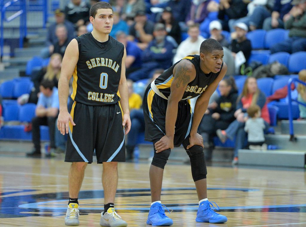 Sheridan College guards Celio Araujo, left, and Xavier Jackson look on as a teammate shoots a late free throw in the Generals' win over Gillette College on Wednesday, Jan. 11 at the Pronghorn Center in Gillette. Mike Pruden | The Sheridan Press