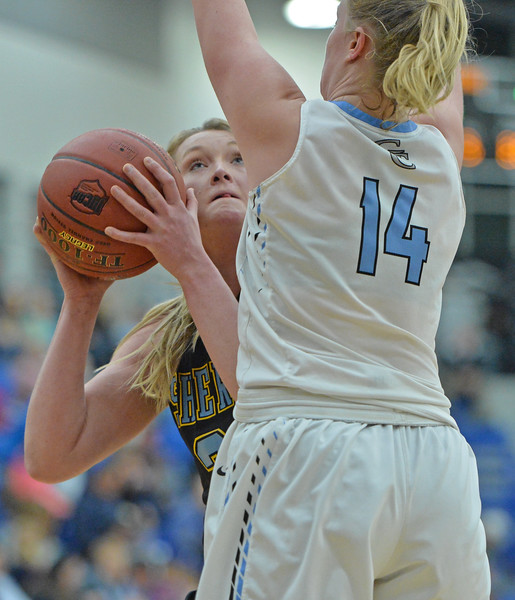 Ashlie Blackburn peers over a Gillette College defender in the post on Wednesday, Jan. 11 at the Pronghorn Center in Gillette. Mike Pruden | The Sheridan Press