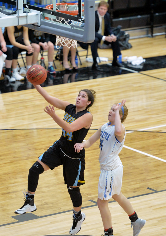 Mar Lamidrid Coll, left, takes the ball up against Gillette College's Haley Urbatsch on Wednesday, Jan. 11 at the Pronghorn Center in Gillette. Mike Pruden | The Sheridan Press