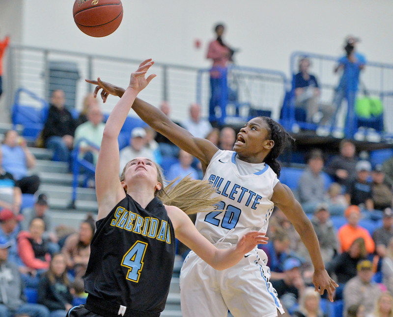 Gillette College's Shy'Tyra Powell, right, blocks Brooke Cargal's layup attempt on Wednesday, Jan. 11 at the Pronghorn Center in Gillette. Mike Pruden | The Sheridan Press