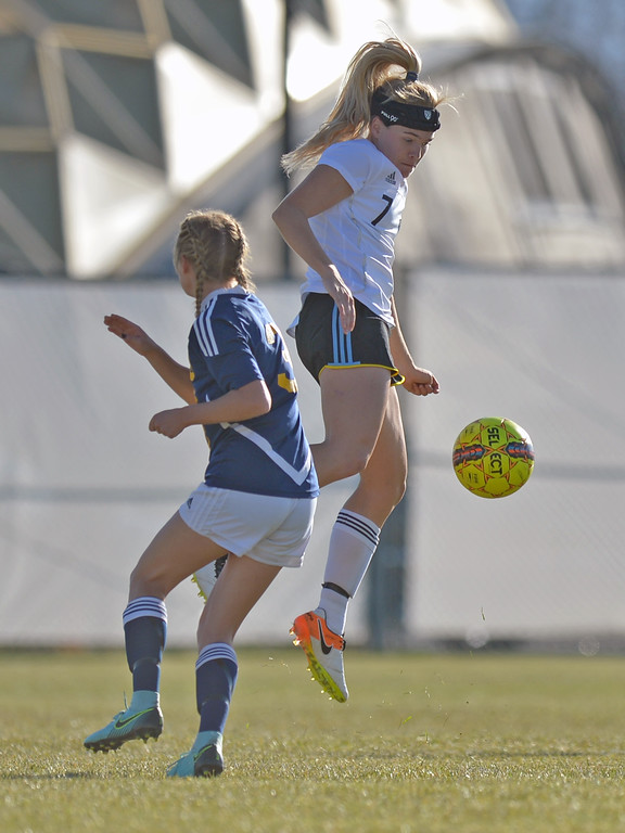 Katelynn Brooks jumps to keep the ball away from an opponent during the Lady Generals' Region IX Tournament match against Trinidad State Junior College on Friday, Oct. 20 at Maier Field. Mike Pruden | The Sheridan Press
