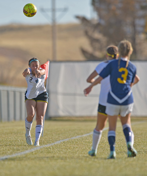 Sheridan College's Kylee Olson throws the ball in during the Lady Generals' Region IX Tournament match against Trinidad State Junior College on Friday, Oct. 20 at Maier Field. Mike Pruden | The Sheridan Press