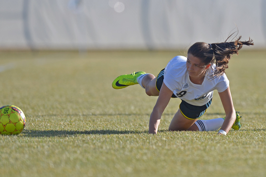 Sidney Burrell tumbles to the ground as the ball rolls out of bounds during the Lady Generals' Region IX Tournament match against Trinidad State Junior College on Friday, Oct. 20 at Maier Field. Mike Pruden | The Sheridan Press