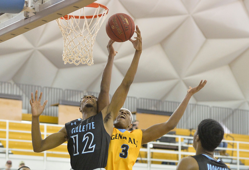 Justin Sheely | The Sheridan Press<br /> Gillette College's Trent Williams, left, contends the rebound with Sheridan College's Austin Sherrell during the rivalry game Wednesday night at the Sheridan College Golden Dome. The Generals fell to Gillette 87-81.