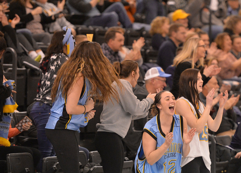 Justin Sheely | The Sheridan Press<br /> Sheridan College students cheer after a big dunk by the Generals during the rivalry game against the Pronghorns Wednesday night at the Bruce Hoffman Golden Dome. The Generals fell to Gillette 87-81.