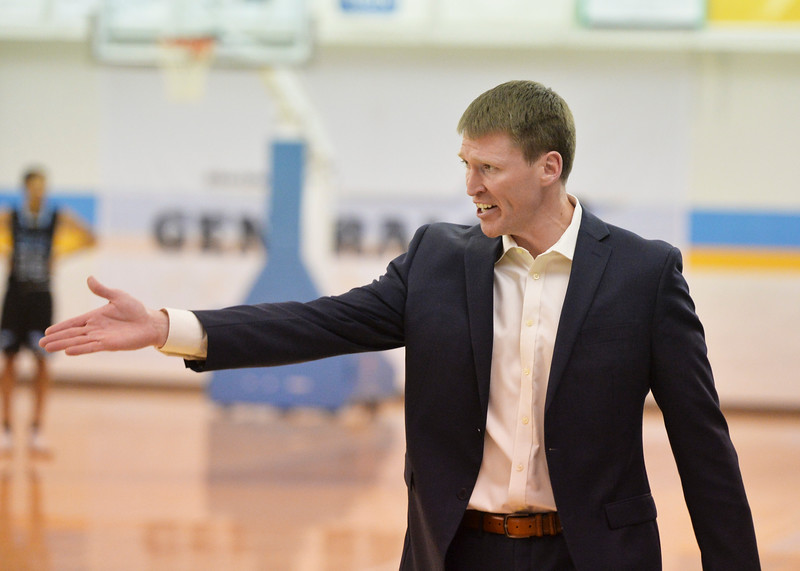 Justin Sheely | The Sheridan Press<br /> Sheridan College Men's Basketball head coach Matt Hammer reacts after a game official made a travel call against Sebastian Ferenc during the rivalry game against the Pronghorns Wednesday night at the Bruce Hoffman Golden Dome. The Generals fell to Gillette 87-81.