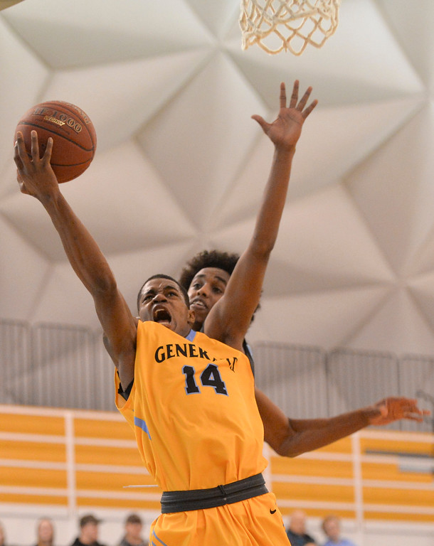 Justin Sheely | The Sheridan Press<br /> Sheridan College's Xavier Jackson goes for a layup during the rivalry game against the Pronghorns Wednesday night at the Sheridan College Golden Dome. The Generals fell to Gillette 87-81.