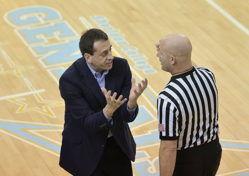 Justin Sheely | The Sheridan Press<br /> Gillette Men's Basketball head coach Shawn Neary argues with a game official during the first half of the rivalry game Wednesday in the Bruce Hoffman Golden Dome at Sheridan College.