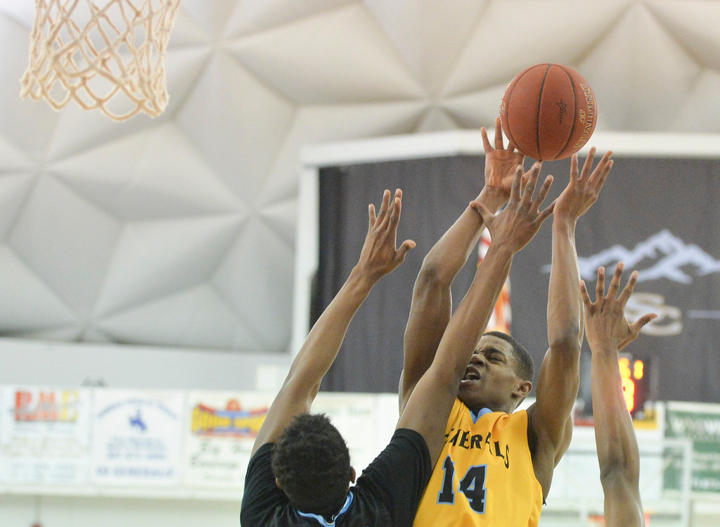 Justin Sheely | The Sheridan Press<br /> Sheridan College's Xavier Jackson puts up a shot during the rivalry game against the Pronghorns Wednesday night at the Bruce Hoffman Golden Dome. The Generals fell to Gillette 87-81.