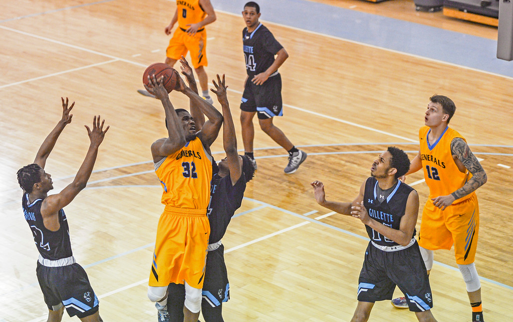 Justin Sheely | The Sheridan Press<br /> Sheridan College's Dmonta Harris shoots for two during the rivalry game against the Pronghorns Wednesday night at the Bruce Hoffman Golden Dome. The Generals fell to Gillette 87-81.