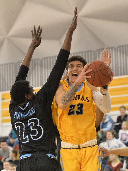 Justin Sheely | The Sheridan Press<br /> Sheridan College's Channel Banks goes for a shot during the rivalry game against the Pronghorns Wednesday night at the Bruce Hoffman Golden Dome. The Generals fell to Gillette 87-81.