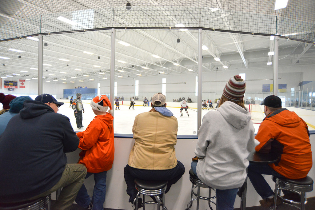 Justin Sheely | The Sheridan Press<br /> Hockey fans watch the action during Sheridan's game against Rock Springs Saturday at Whitney Rink in the M&M's Center. The Hawks won 6-1 to make up for Friday's loss to the Miners.