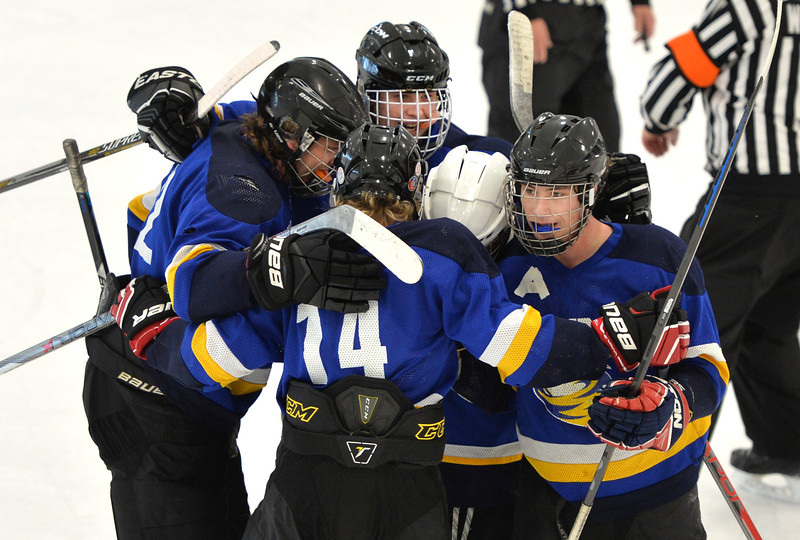 Justin Sheely | The Sheridan Press<br /> The Sheridan Hawks celebrate Black Billings' buzzer-beating goal at the end of the second period during the game against Rock Spring Saturday at Whitney Rink in the M&M's Center. The Hawks won 6-1 to make up for Friday's loss to the Miners.