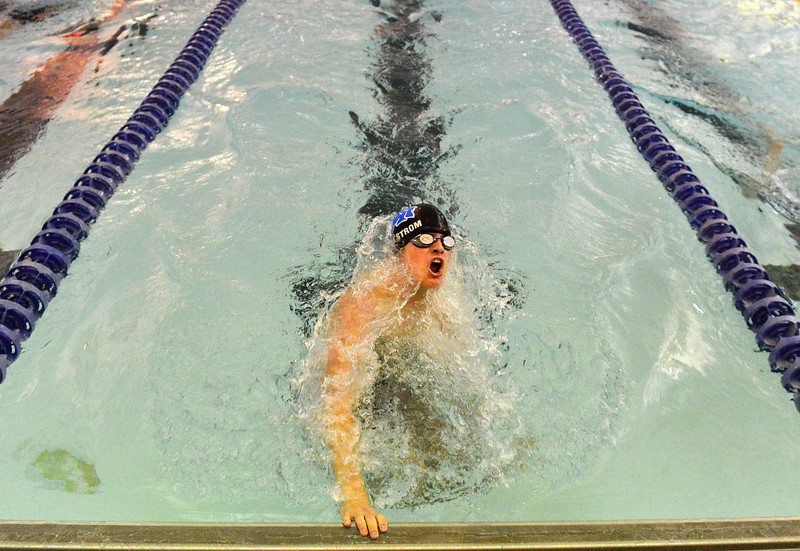 Justin Sheely | The Sheridan Press<br /> Sheridan's Jacob Ahlstrom competes in the 200 SC Meter IM during the boys swim meet Friday at the Sheridan Junior High School Pool.
