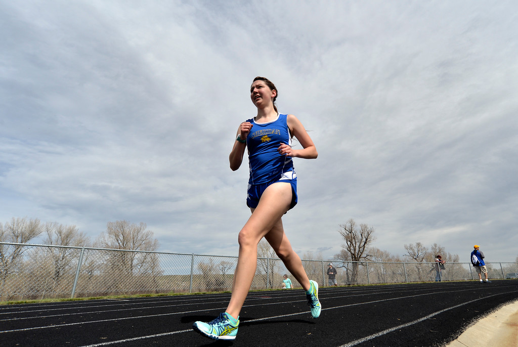 Justin Sheely | The Sheridan Press<br /> Emma Whiteman finishes first in the 1600m run during the pre-prom track and field invite Friday at Tongue River High School in Dayton.