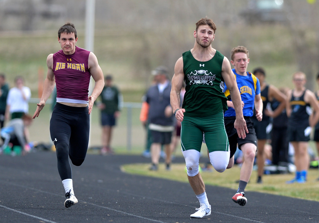 Justin Sheely | The Sheridan Press<br /> Big Horn's Colton Williams, left, and Tongue River's Brennan Kutterer compete in the 100m dash during the pre-prom track and field invite Friday at Tongue River High School in Dayton.