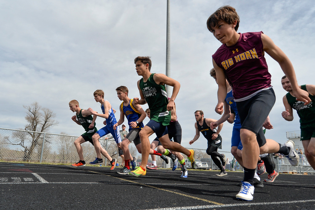 Justin Sheely | The Sheridan Press<br /> Boys start 1600m run during the pre-prom track and field invite Friday at Tongue River High School in Dayton.