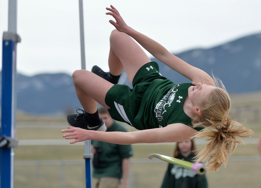 Justin Sheely | The Sheridan Press<br /> Tongue River's Kalie Bocek competes in the high jump during the pre-prom track and field invite Friday at Tongue River High School in Dayton.