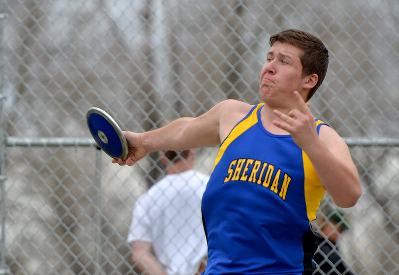Justin Sheely | The Sheridan Press<br /> Sheridan's Ethan Johnson competes in discus throw during the pre-prom track and field invite Friday at Tongue River High School in Dayton.