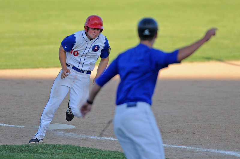 Nolan McCafferty gets waved home during a sixth-inning rally against Gillette on Wednesday, May 31 at Thorne-Rider Stadium. The Troopers scored seven runs in the inning to overcome a 6-1 deficit. Mike Pruden | The Sheridan Press
