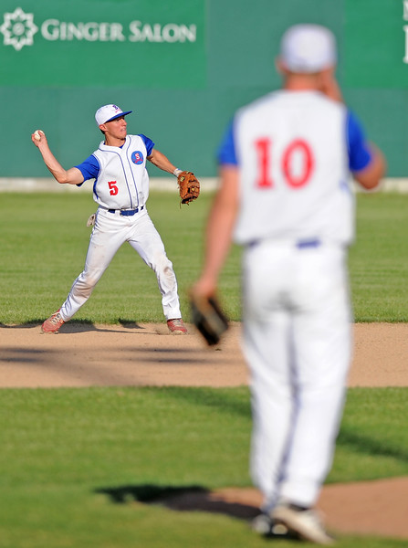 Shortstop Jeff Shanor steps into a throw on Wednesday, May 31 at Thorne-Rider Stadium. Mike Pruden | The Sheridan Press