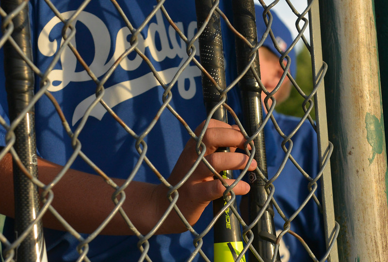 Justin Sheely | The Sheridan Press <br /> The Dodgers get ready to bat during the last regular season Webb Wright League game Thursday at the 6th Street Fields in Sheridan. The team from Busby, Montana, beat Sheridan's Dodgers 3-1. The playoffs begin next week.