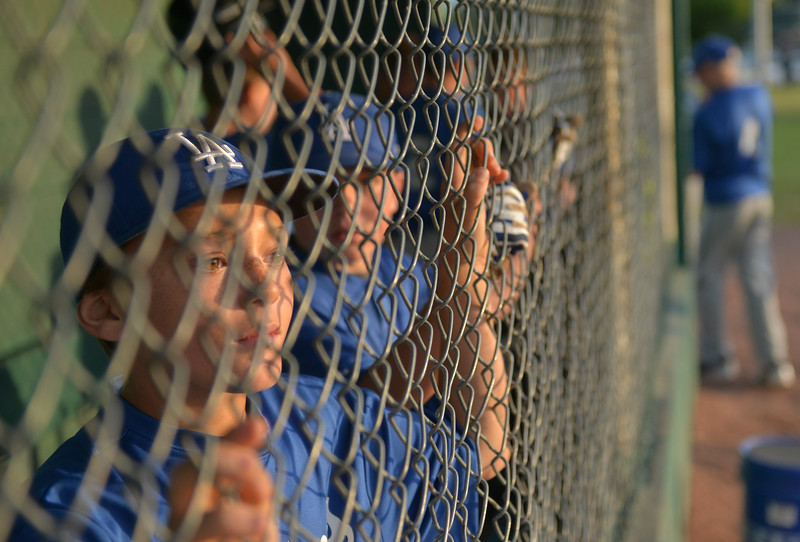 Justin Sheely | The Sheridan Press <br /> Dodgers' Alex Barker watches his team during the last regular season Webb Wright League game Thursday at the 6th Street Fields in Sheridan. The team from Busby, Montana, beat Sheridan's Dodgers 3-1. The playoffs begin next week.