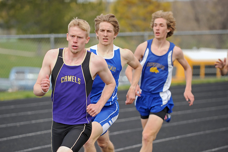 Gillette's Cory Myers, left, sets the pace on the first lap of the 800-meter run against Sheridan's Tymer Goss, center, and Jered McCafferty at the Gary Benson Memorial track meet on Tuesday, April 18 at Sheridan High School. Mike Pruden | The Sheridan Press
