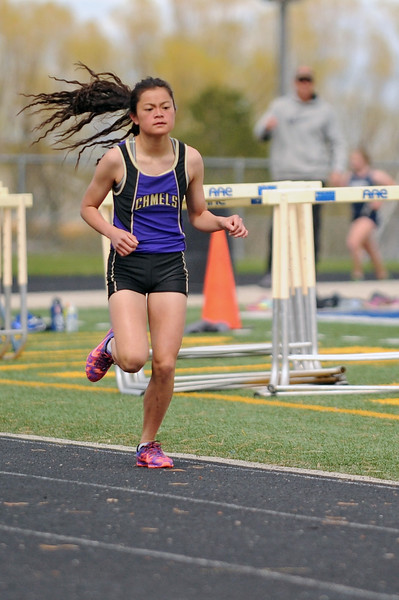Gillette's Rebecca Ash competes in the 1600-meter run during the Gary Benson Memorial track meet on Tuesday, April 18 at Sheridan High School. Mike Pruden | The Sheridan Press