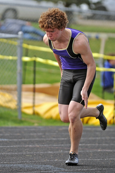 Gillette's Logan Myers takes off from the starting blocks in the 400-meter dash during the Gary Benson Memorial track meet on Tuesday, April 18 in Sheridan. Mike Pruden | The Sheridan Press