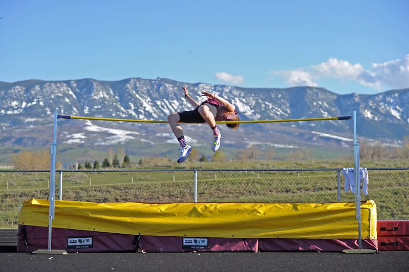 Big Horn high jumper Kade Van Dyken attempts to clear 6 feet at the Little Goose Jump and Throw Invite on Thursday, April 4 at Big Horn High School. Mike Pruden   The Sheridan Press
