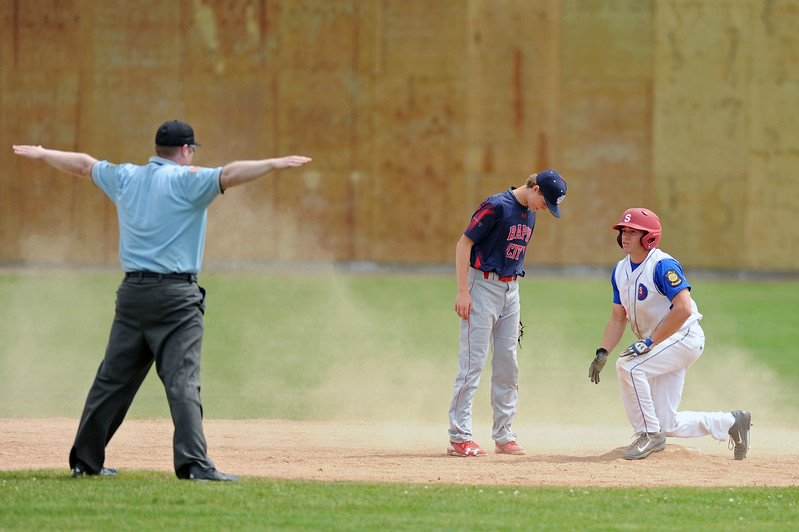 Sheridan's Coy Steel, right, is called safe after stealing second base on Sunday, May 7 at Thorne-Rider Stadium. The Troopers split a doubleheader against Rapid City Post 22. Mike Pruden | The Sheridan Press
