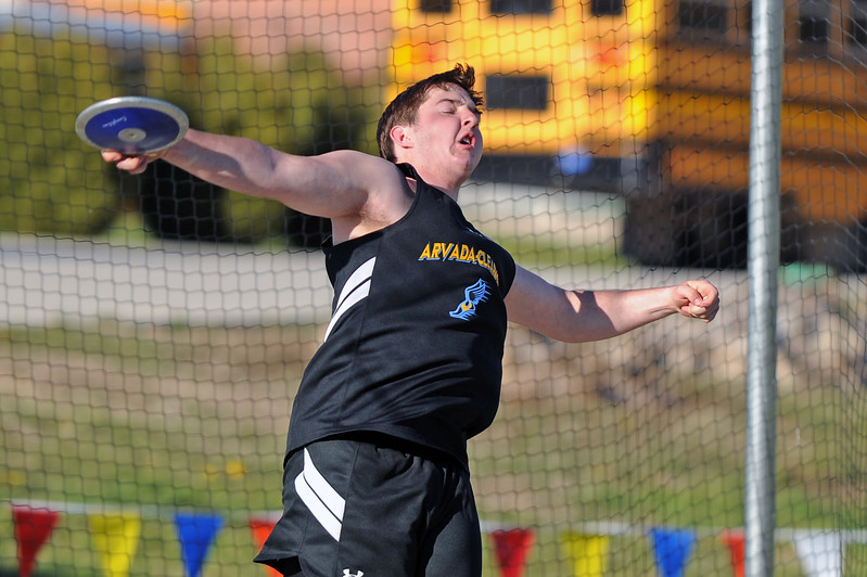 Arvada-Clearmont's Clayton Auzqui tosses a discus during the Little Goose Jump and Throw Invite on Thursday, May 4 at Big Horn High School. Mike Pruden | The Sheridan Press