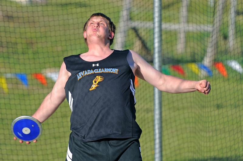Arvada-Clearmont's Riley Malli flexes for a discus toss at the Little Goose Jump and Throw Invite on Thursday, April 4 at Big Horn High School. Mike Pruden | The Sheridan Press