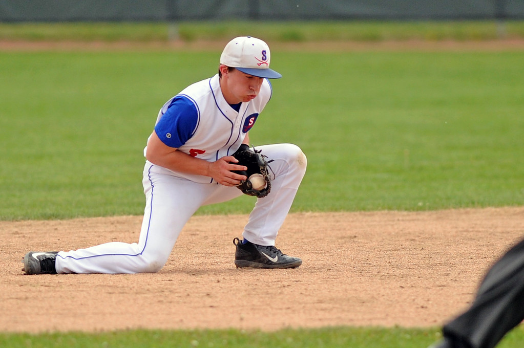 Troopers second baseman Noah Gustafson fields a ground ball against Rapid City Post 22 on Sunday, May 7 at Thorne-Rider Stadium. Mike Pruden | The Sheridan Press