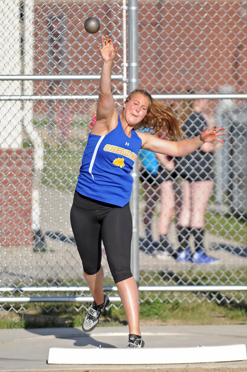 Sheridan's Jordan Christensen throws shot put during the Little Goose Jump and Throw Invite on Thursday, May 4 at Big Horn High School. Mike Pruden | The Sheridan Press