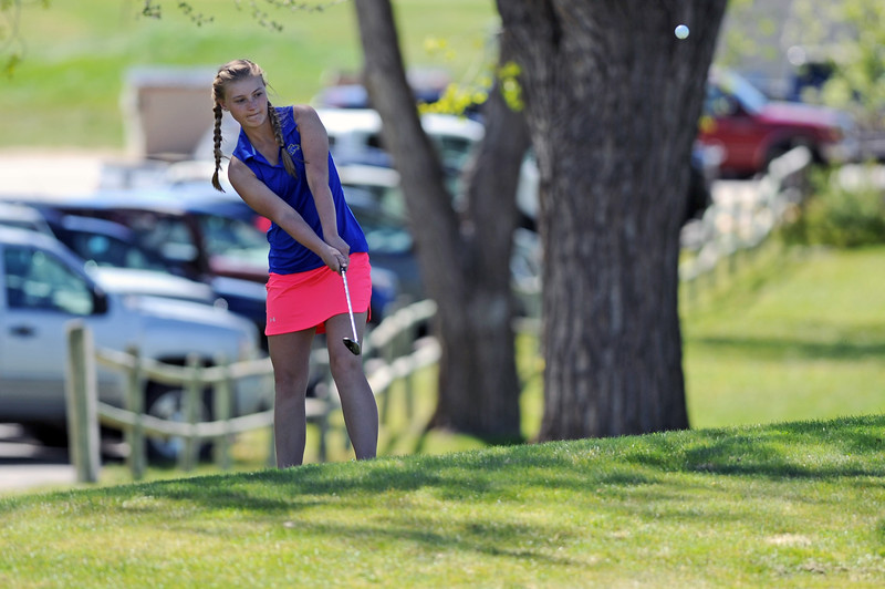 Kayla Allen chips a ball from the back side of the green during the Sheridan Invite on Friday, May 5 at Kendrick Golf Course. Allen scored an 83 to take first at the meet. Mike Pruden   The Sheridan Press