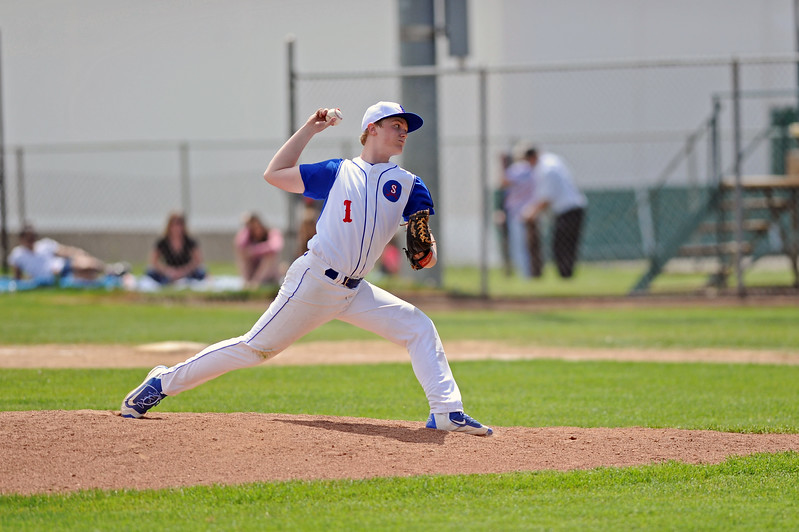 Jacob Boint steps into a pitch during the Sheridan Troopers game against Rapid City Post 22 on Sunday, May 7 at Thorne-Rider Stadium. Mike Pruden   The Sheridan Press