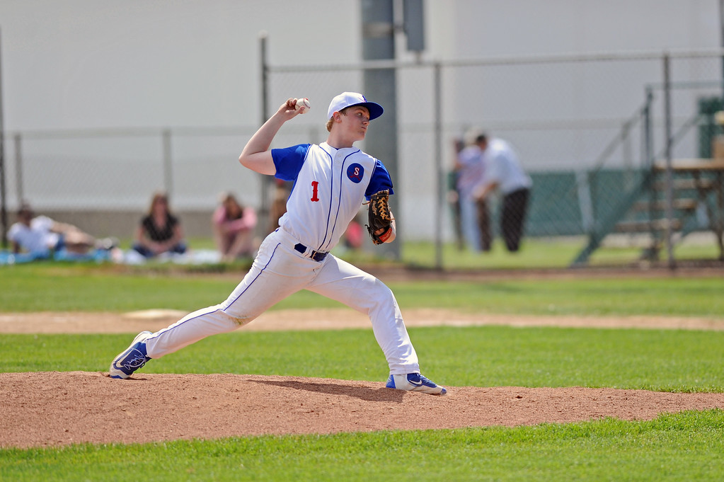 Jacob Boint steps into a pitch during the Sheridan Troopers game against Rapid City Post 22 on Sunday, May 7 at Thorne-Rider Stadium. Mike Pruden | The Sheridan Press