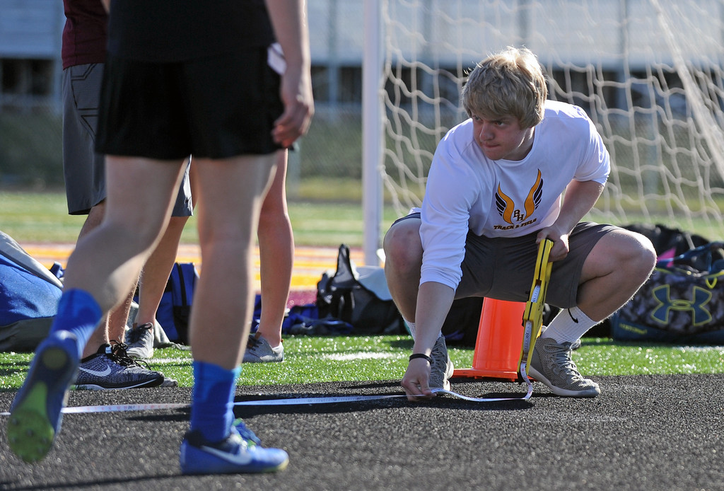 Big Horn's Colton Bates measures a triple-jump attempt during the Little Goose Jump and Throw Invite on Thursday, May 4 at Big Horn High School. Mike Pruden | The Sheridan Press