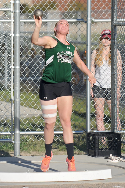 Tongue River's Brittany Fillingham competes in shot put at the Little Goose Jump and Throw Invite on Thursday, April 4 at Big Horn High School. Mike Pruden | The Sheridan Press