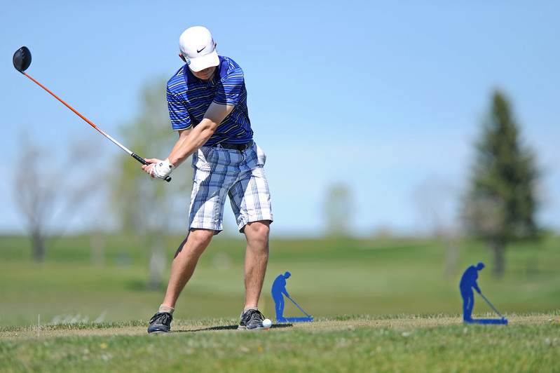 Kirby Coe-Kirkham takes a big swing from the 17th tee on Friday, May 5 at Kendrick Golf Course. Coe-Kirkham shot his third-straight 69 to win the Sheridan Invite. Mike Pruden   The Sheridan Press