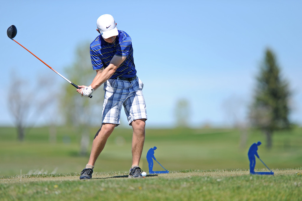 Kirby Coe-Kirkham takes a big swing from the 17th tee on Friday, May 5 at Kendrick Golf Course. Coe-Kirkham shot his third-straight 69 to win the Sheridan Invite. Mike Pruden | The Sheridan Press