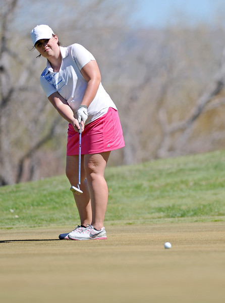 Molly Butler watches a putt roll across the ninth green during the Sheridan Invite on Friday, May 5 at Kendrick Golf Course. Mike Pruden   The Sheridan Press