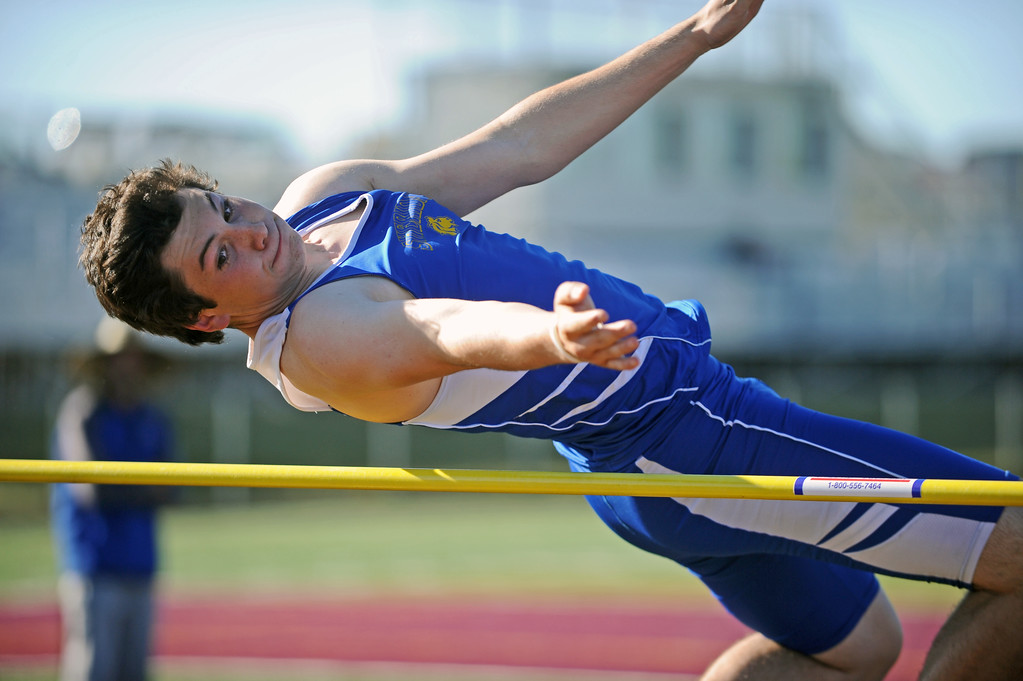 Sheridan's Ryan Sessions bends over the high-jump bar at the Little Goose Jump and Throw Invite on Thursday, April 4 at Big Horn High School. Mike Pruden | The Sheridan Press