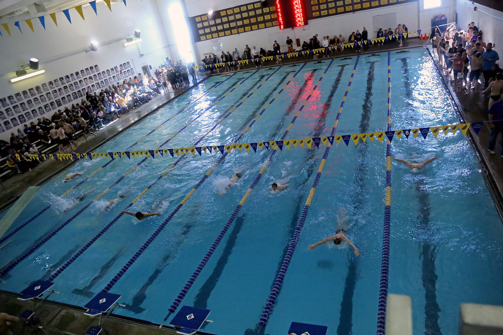 Competitors race in the 100-meter butterfly at the Sheridan Invite on Saturday, Jan. 7 at Sheridan Junior High School. Seven schools were represented at the meet. Mike Pruden   The Sheridan Press