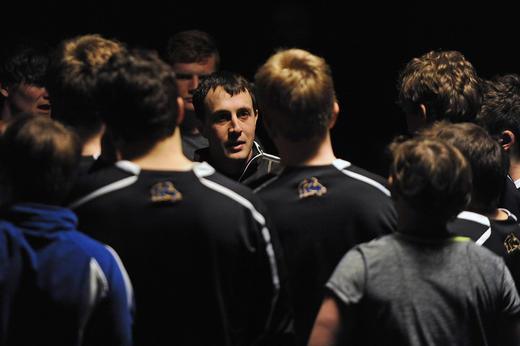 Head wrestling coach Tyson Shatto speaks with his team after a match against Billings West on Tuesday, Jan. 3 at Sheridan High School. Mike Pruden   The Sheridan Press